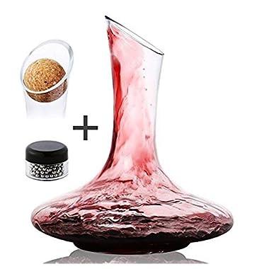 DRAGONN Luxury Wine Decanter - 100% Hand Blown Lead-free Crystal Glass Wine Carafe – Bonus Cork Stopper & Steel Cleaning Beads Accessories
