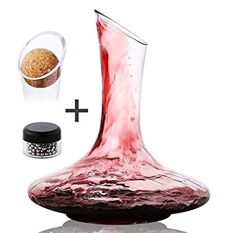 DRAGONN Luxury Wine Decanter - 100% Hand Blown Lead-free Crystal Glass Wine  Carafe - Bonus Cork Stopper & Steel Cleaning Beads Accessories