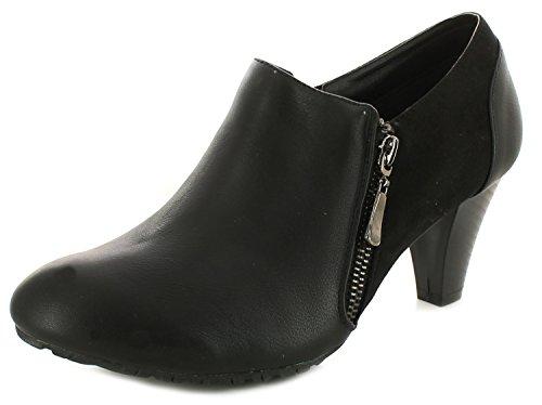 Neu Damen/Damen Schwarz Comfort Plus Claire Schuhe Stiefel Mit Seite Reißverschluss Schwarz - UK GRÖßEN 3-8