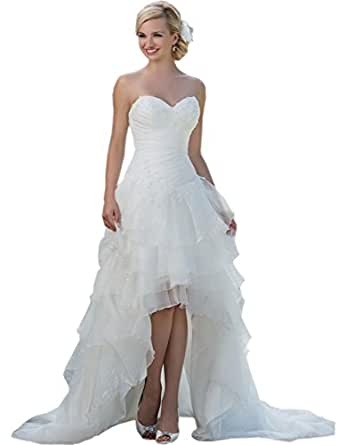 Belle house women 39 s long hi lo bridal gown strapless for Amazon cheap wedding dresses