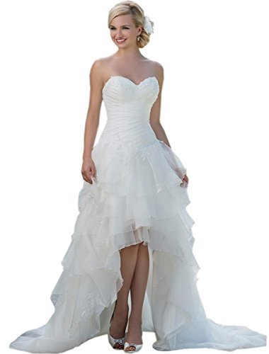 Belle House Women's Long Hi Lo Bridal Gown Strapless Organza Wedding Dresses HWM017