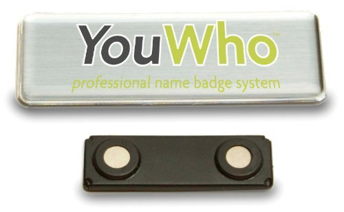 YouWho 2-Unit Professional Name Badge Kit w Magnetic Fastener (Silver Inkjet & Laser)