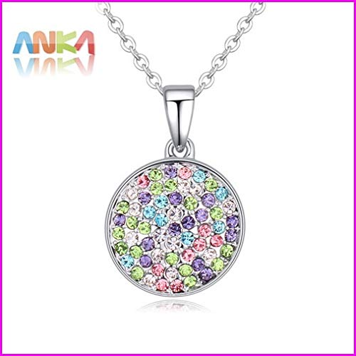 (Plated Flat Round Crystal Pendants, Necklaces | Made with Czech Crystal)