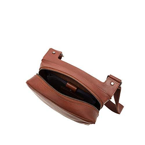 DUDU axelväska för män över kroppen messengerväska i buffalo läder med surfplatteficka och dragkedja brun