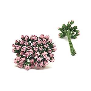 1/2cm Mauve Paper Roses, Mulberry Paper Flowers, Miniature Flowers, Mulberry Paper Rose Buds, Paper Rose Flower, Wedding Favor Decor, Miniature Rose, DIY Bouquet, Scrapbooking Flowers 50 Pieces 2