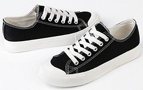 Idifu Femmes Durable Lace Up Bas Baskets Montantes En Toile Plates Chaussures De Skateboard Athlétiques Noir