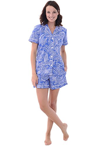 Button Down Woven Shorts - Alexander Del Rossa Womens Cotton Pajamas, Short Button Down Woven Pj Set, XL Blue with White Paisleys (A0502P05XL)