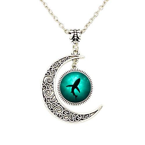 (Liumart Crescent Moon Shark Necklace, Ocean Shark Shadow Pendant Best Friend Jewelry)
