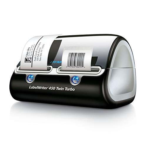 DYMO Label Writer 450 Twin Turbo label printer, 71 Labels Per Minute, Black/Silver (1752266) (Xl Black Label)
