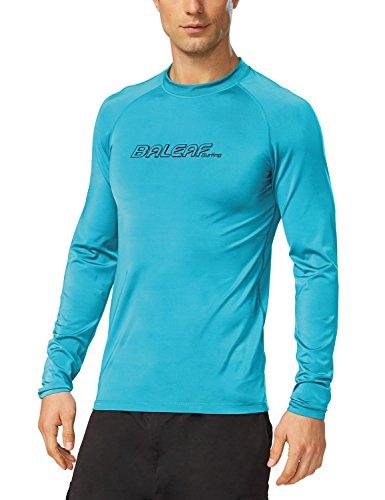Baleaf Men's Long Sleeve Rashguard Sun Protective Swim Shirt UPF 50+ Ocean Blue Size M