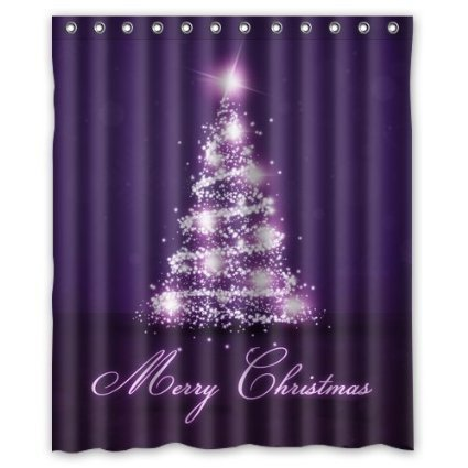 Custom Xmas Merry Christmas Happy New Year Waterproof Polyester Fabric Shower Curtain and Hooks