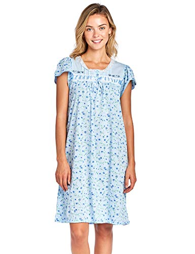 Casual Nights Women's Cap Sleeve Floral Nightgown - Blue - Medium -
