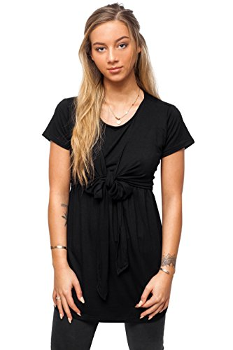 sofsy Soft-Touch Rayon Blend Tie Front Nursing & Maternity Fashion Top Black Large