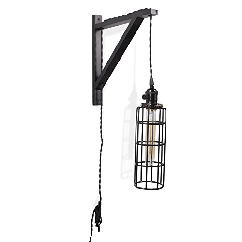 Wall Mount Industrial Long Cage Light with Vintage Style Twisted Cloth Cord and Long (Decor Design Wall Mount)