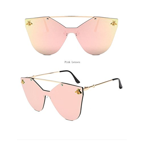 La Manera Tendencia Las Bluepurple Sol La De De De amp;HA Pink Muchacha Gafas La De Abeja De Salvaje Marco De Tendencia La Z De Oro De Señoras XB6qw0