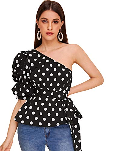 Romwe Women's One Shoulder Short Puff Sleeve Self Belted Solid Blouse Top Black#1 Medium