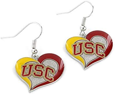 NCAA USC Trojans Swirl Heart Earrings