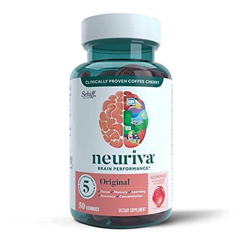 Neuriva Nootropic Brain Support Supplement – Original Strawberry Gummies (50 count in a bottle), Phosphatidylserine…