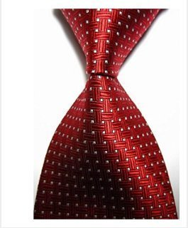 EXT Collectino 100% Silk Necktie, New Classic Weave Style Red White Dot Fashion Trendy Chick Elegant Formal Business Tie JACQUARD WOVEN Men's Suits Groom Wedding Marriage Party Ties (New Chick)