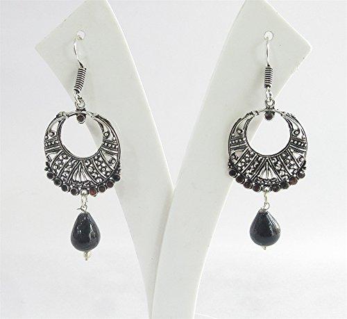 Antique Silver Black Bead Dangle Earrings/ Indian Drop Earrings/ Silver Chand Bali/Boho Earrings/ Bohemian Earrings/ Gyspsy African Earrings