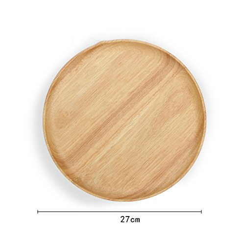 LIUYUN Woody,Round Compote Snack Plate Bread Fruit Tray-E (Compote Round)