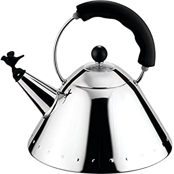 Image of Alessi 9093 B Shpd Kettle Bird Shaped Whistle M.B, Black Home and Kitchen