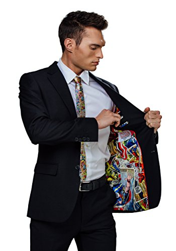 Marvel Slim Fit Suit Jacket with Comic Strip Print Inner Lining - 42R -