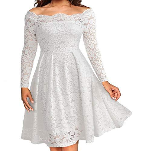 Encaje Ceremonia Otoño Fiesta Cuello Partido Midi Barco de Vestido Vestido Plisado Vestidos Moda Blanco1 Mujeres de Elegantes Primavera de Cóctel qwUTIqd
