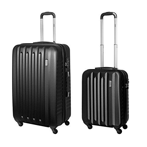 2 tlg. Hartschalen Koffer Set Trolley Case Handgepäck TSA Schloss Schwarz 811 B