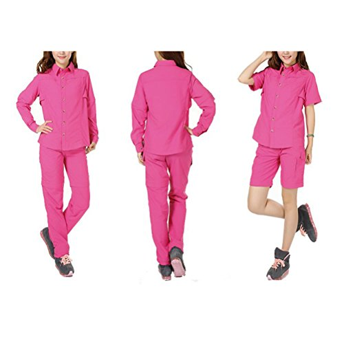 Zhhlaixing mujeres Hiking Climbing Quick-drying Outdoor Sport Suits Shirt & Shorts Removable Pants Rose Red