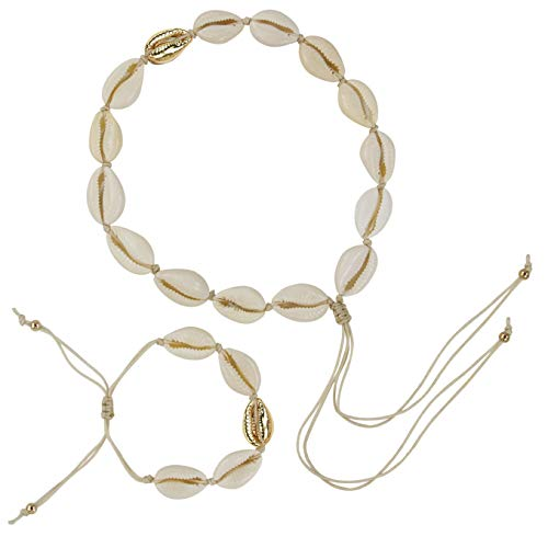 Muryobao Women's Natural Cowrie Shell Choker Necklace Gold-Plated Sea Shell Necklace Handmade Adjustable Cowry Charms Cord Rope Hemp Necklace Bracelets Set Boho Hawaii Beach Jewelry for Summer Golden