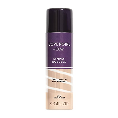 COVERGIRL+Olay Simply Ageless 3-in-1 Liquid Foundation Creamy Beige, 1 oz (packaging may vary)