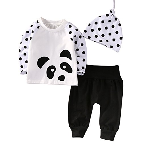 Panda Outfits For Babies (Babys Panda Autumn Costumes Long Sleeve Polka Dot Tshirt With Pant Hat 3PCS Outfits (0-6 Months, White))