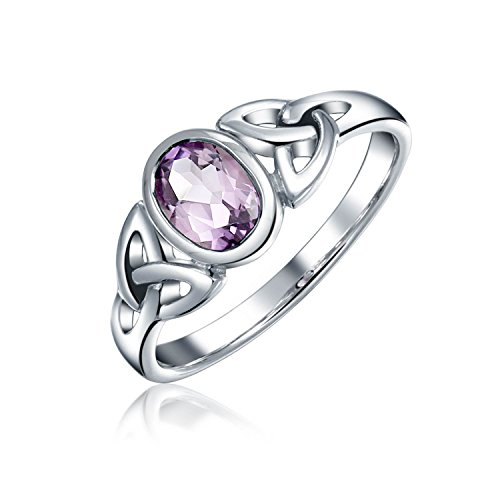 Birthstone Trinity Knot - Amethyst Purple Celtic Trinity Knot Triquetra Ring For Women For Teen 1MM Band 925 Sterling Silver February Birthstone