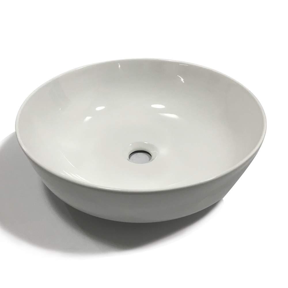 Lavabo Da Appoggio Ceramica Bianco Tondo Lavandino Lavello Arredo 41,5x41,5x13,5 Cm
