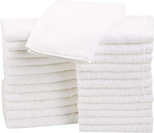 Amazon Basics Fast Drying, Extra Absorbent, Terry Cotton Washcloths, White – Pack of 24