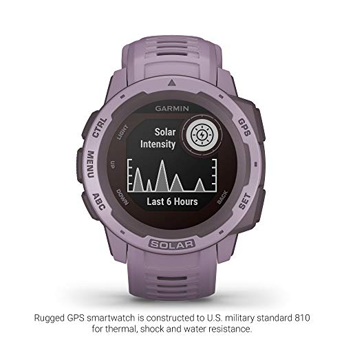 Garmin Instinct Solar, Solar-Powered Rugged Outdoor Smartwatch, Built-in Sports Apps and Health Monitoring, Orchid Purple