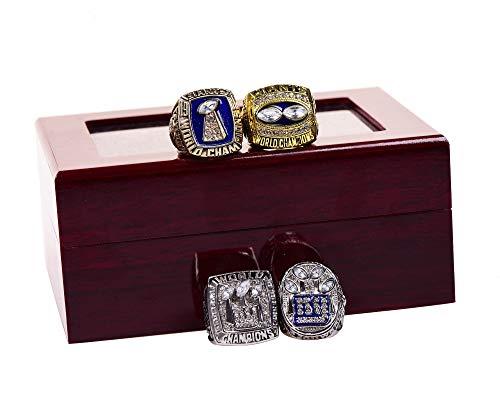 GF-sports store New York Giants 1986 1990 2007 2011 XXI XXV XLII XLVI Supper Bowl Championship Rings Display Box Full Set Replica ()