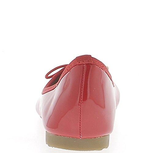 Bailarinas clásicas rojo pintadas con Sarga cinta 1 cm y nodo coincidente