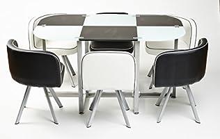 Moderna mesa de comedor estilo Miami, con 6 sillas: Amazon.es: Hogar