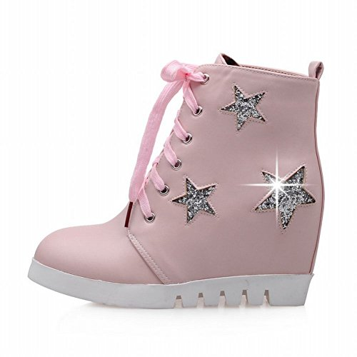 Latasa Womens Cute Star Printed Lace-up Mid Wedge Heel Ankle Boots Pink aZ4IOwpwP7