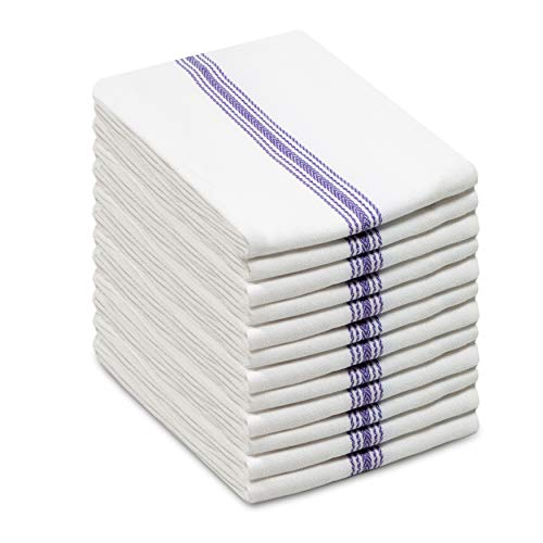 COTTON CRAFT - Scandia Stripe Blue & White 12 Pack Superior Professional Grade Kitchen Dish Tea Towels - May Also be Used as Napkins - 16x28 30 Ounces Pure 100% Cotton, Low Lint, Sturdy Weave