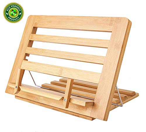 Bamboo Book Stand Display Adjustable Foldable Tray Page Paper Clips ipad Stand/Cookbook Stand/Foldable Tablet PC Textbook/rdy Lightweight Bookstand Textbooks Music Books Bookstands Cook Recipe Standstbooks Music Books Bookstands Cook Recipe Stands