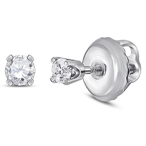 14kt White Gold Girls Infant Round Diamond Solitaire Screwback Earrings 1/20 Cttw (I2-I3 clarity; I-J color) - Baby Jewelry White Gold