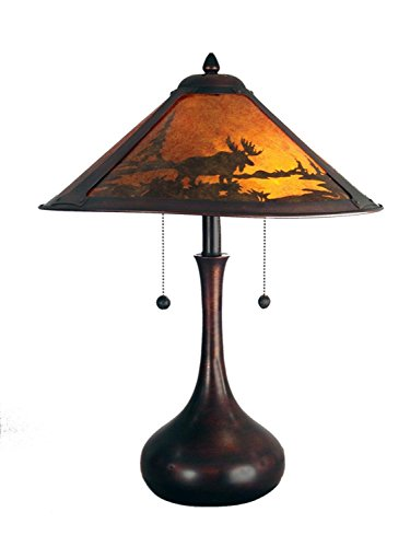 22'' Deep Brown and Orange Mica Antique Bronze Animal Print Wilderness Table Lamp by Diva At Home