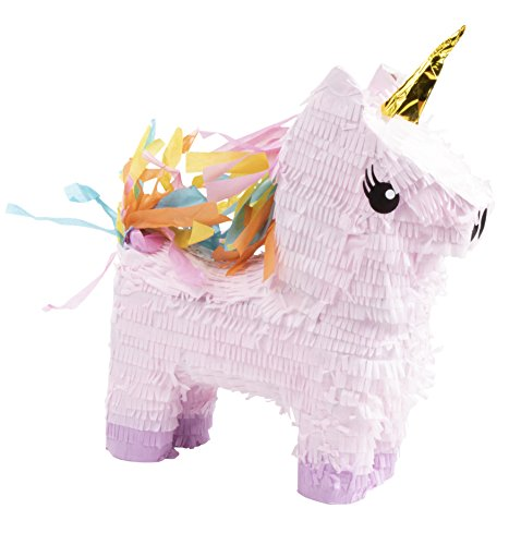 Unicorn Pinata - Kids Birthday Party Supplies for Unicorn Themed Party, Pink and Purple with Gold Foil Horn, 13.4 x 15.5 x 4.6 Inches -