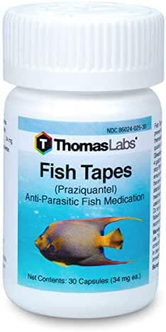 Thomas Labs Fish Tapes - Anti-Parasitic Fish Medication - Praziquantel for Fish - For Tapeworms & Flukes - (34 mg, 30 Capsules)