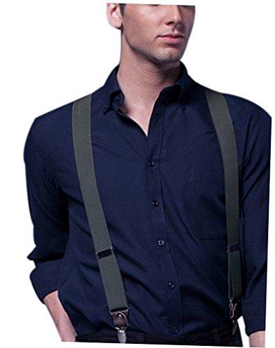 Bretelles 4 Acme Pour Clips Jeans Homme Solide Réglable Forme Avec Élastique Pantalon Cuir Entièrement V Vert Casual dqwqrz
