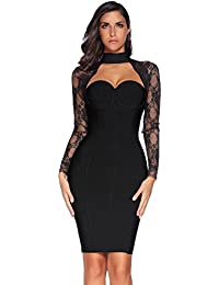 Womens Buster Long Sleeve Halter Neck Lace Cocktail Bandage Dress