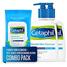 Cetaphil Gentle Skin Cleanser for All Skin Types, Two 16-oz. Bottles, plus 10-ct. Cetaphil Gentle Skin Cleansing Cloths for Dry, Sensitive Skin (Combo Pack)